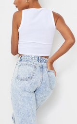 PRETTYLITTLETHING Acid Blue Wash Thigh Ripped Mom Jeans 4