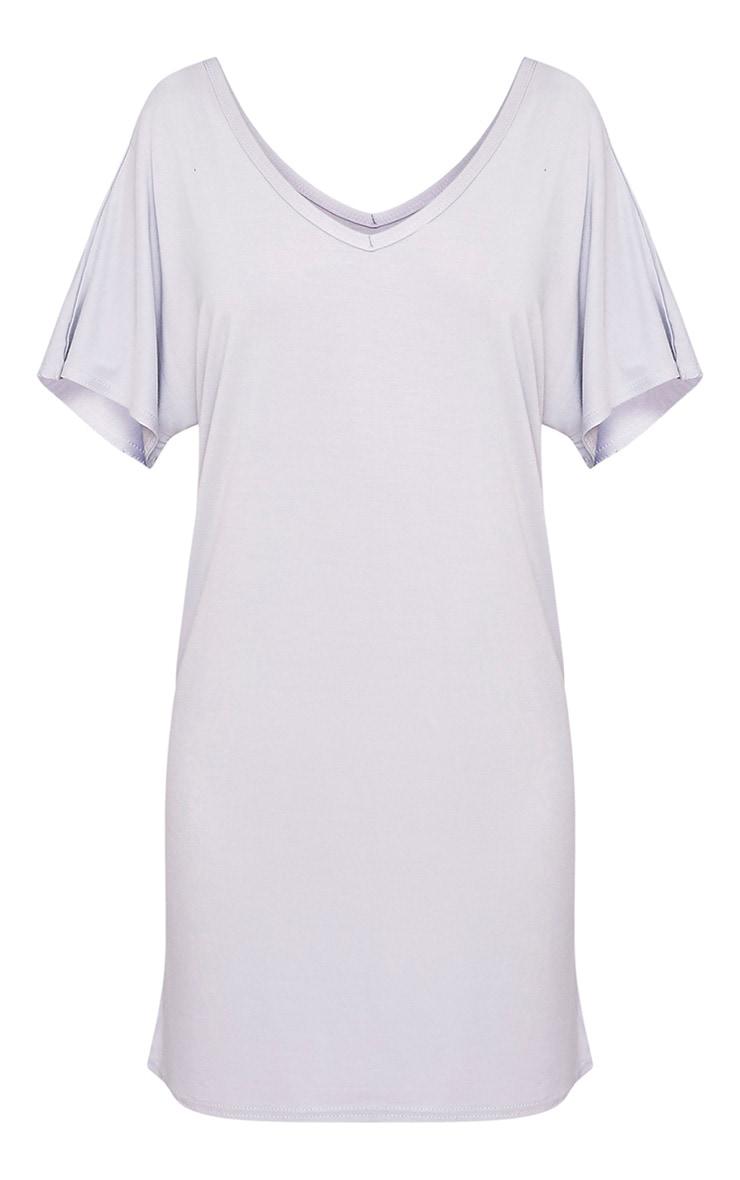 Basic robe t-shirt à col en V gris glace 3