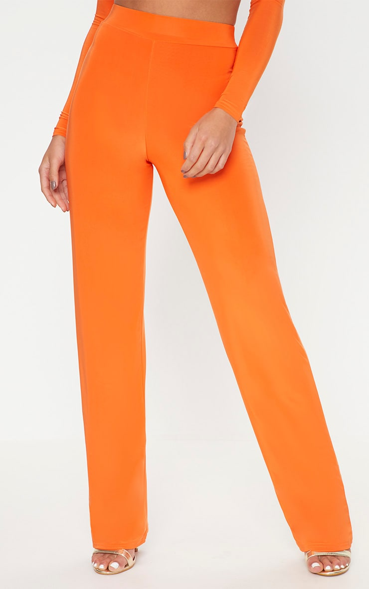 Petite Orange Slinky Wide Leg Trousers 2