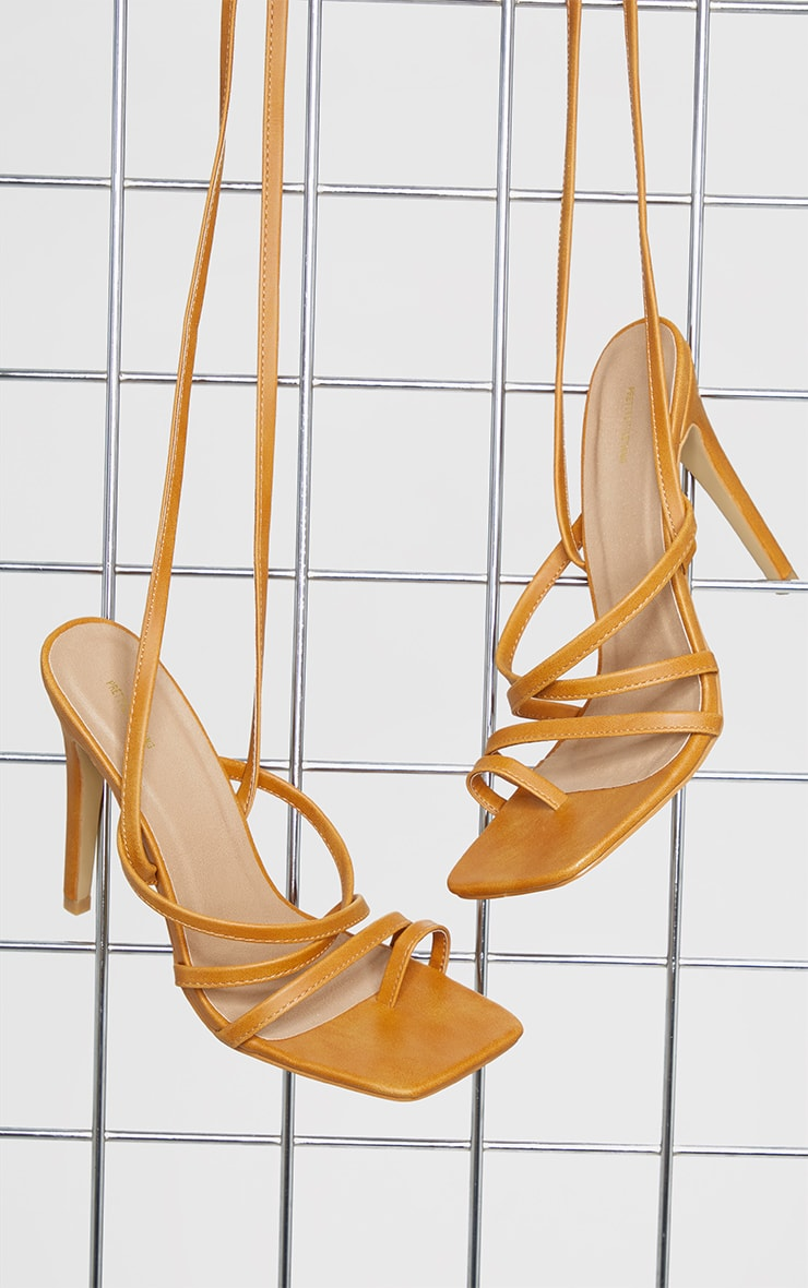 Sand Square Toe Strappy Lace Up High Heeled Sandals 3