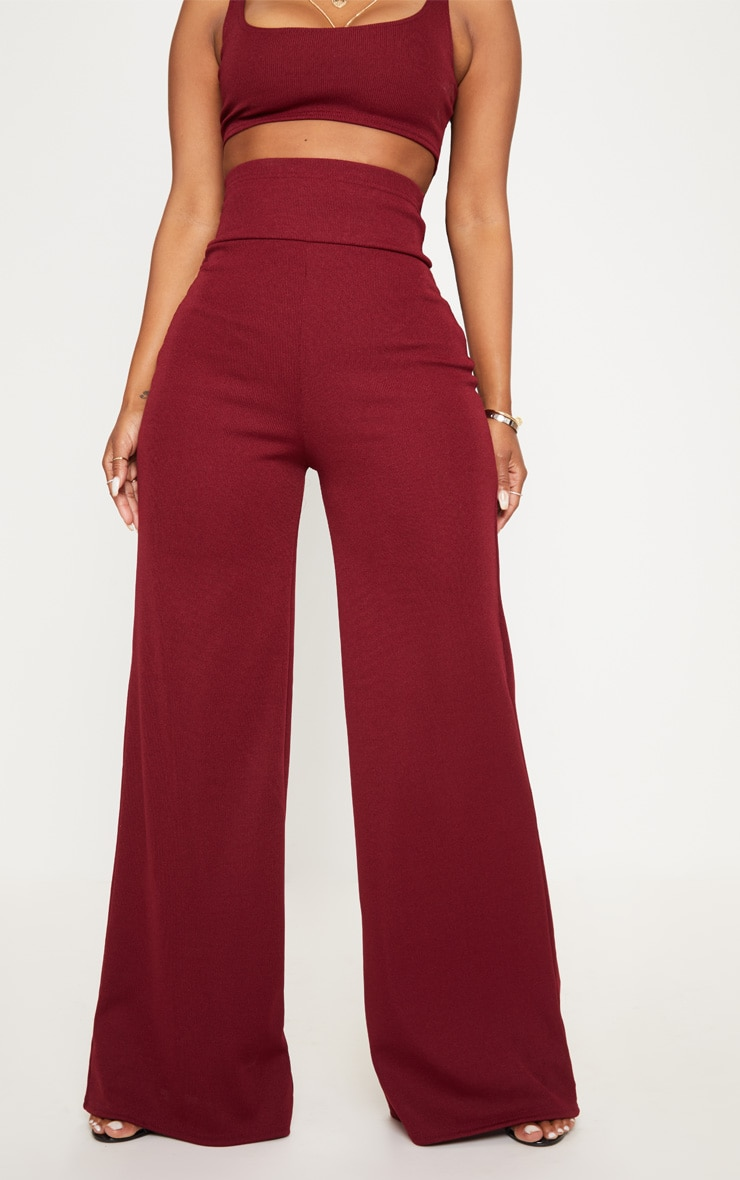 Shape Burgundy Bandage Extreme High Waist Wide Leg Pants 2