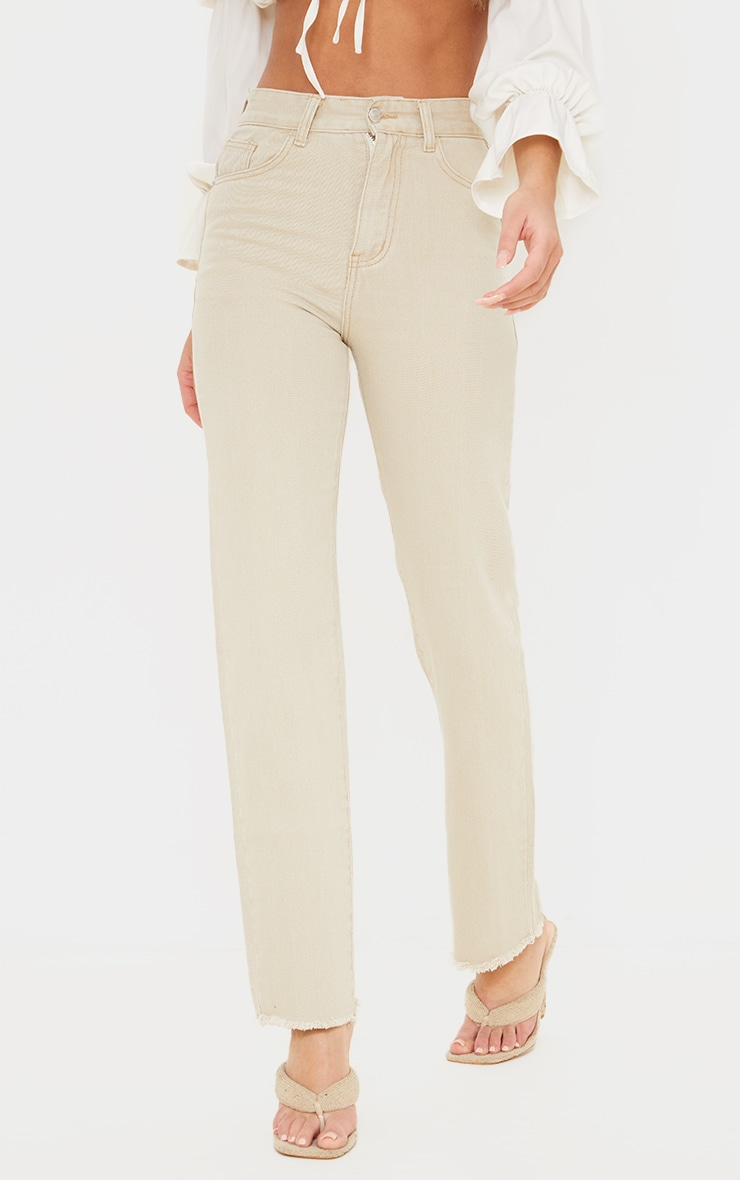Stone Long Straight Leg Raw Hem Jeans 2
