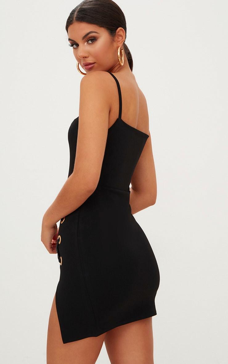 Black Eyelet Satin Lace Up Detail Plunge Mini Dress 2