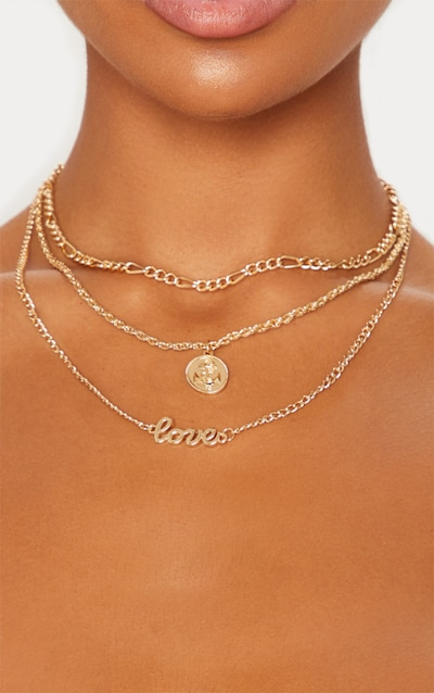 Gold Love Coin Layered Necklace
