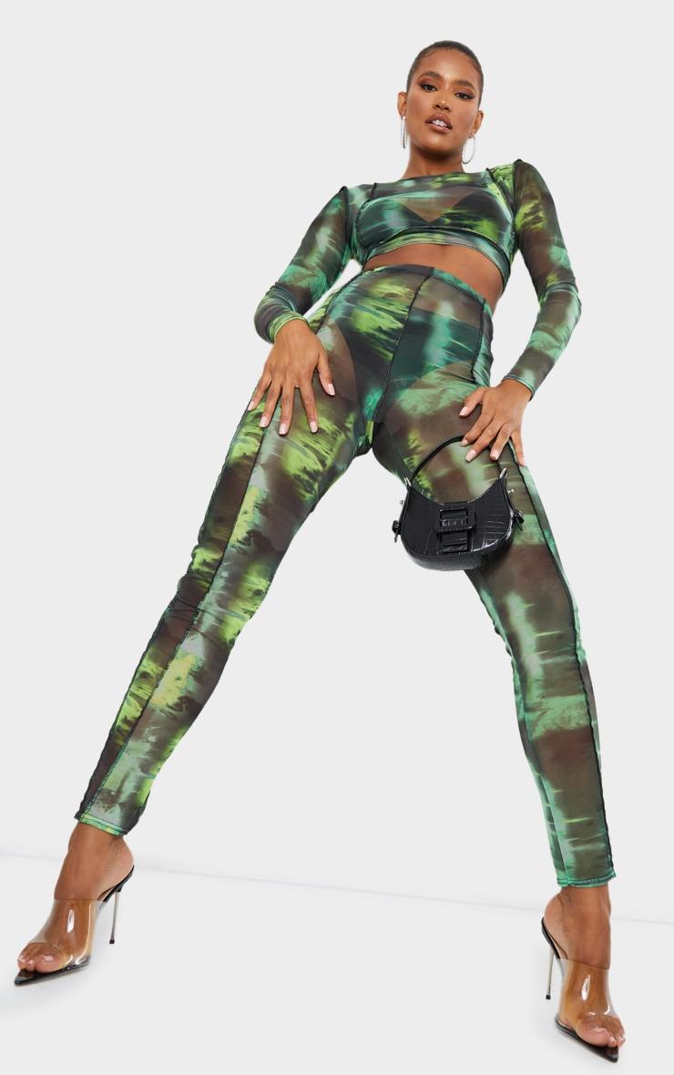 Green Abstract Water Colour Print Sheer Mesh Binding Long Sleeve Crop Top 1