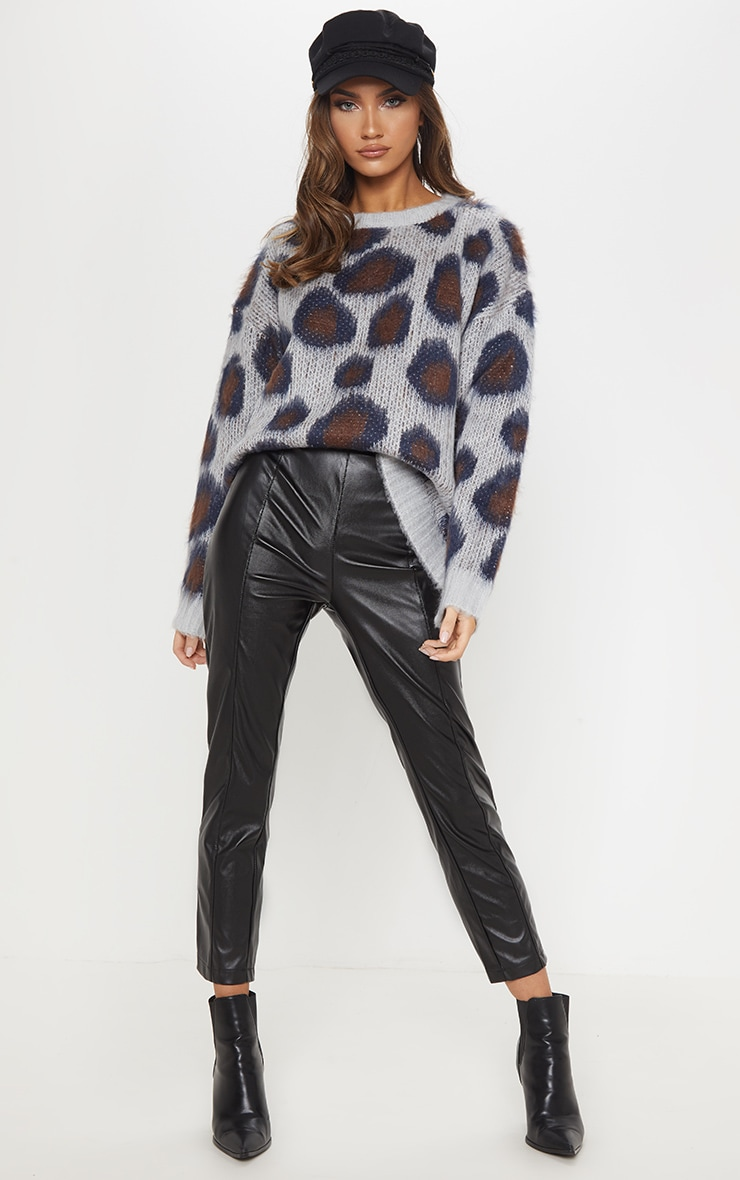 Grey Fluffy Leopard Knit  1