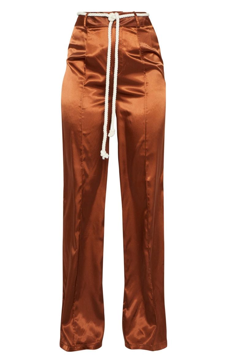 Chocolate Satin Rope Belt Wide Leg Pants 3