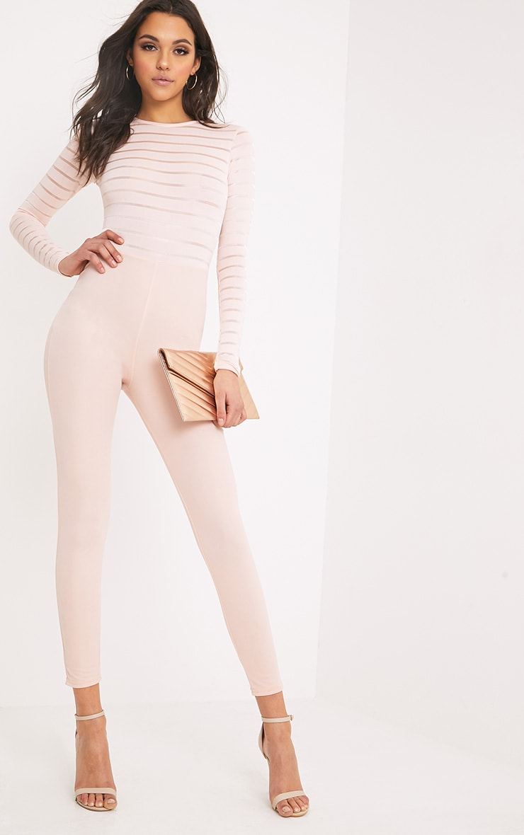Polly Nude Burn Out Mesh Jumpsuit 1