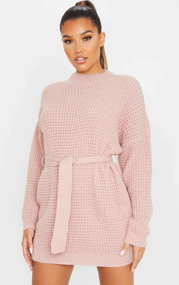 Pale Pink Soft Touch Belted Knitted Sweater Dress 1