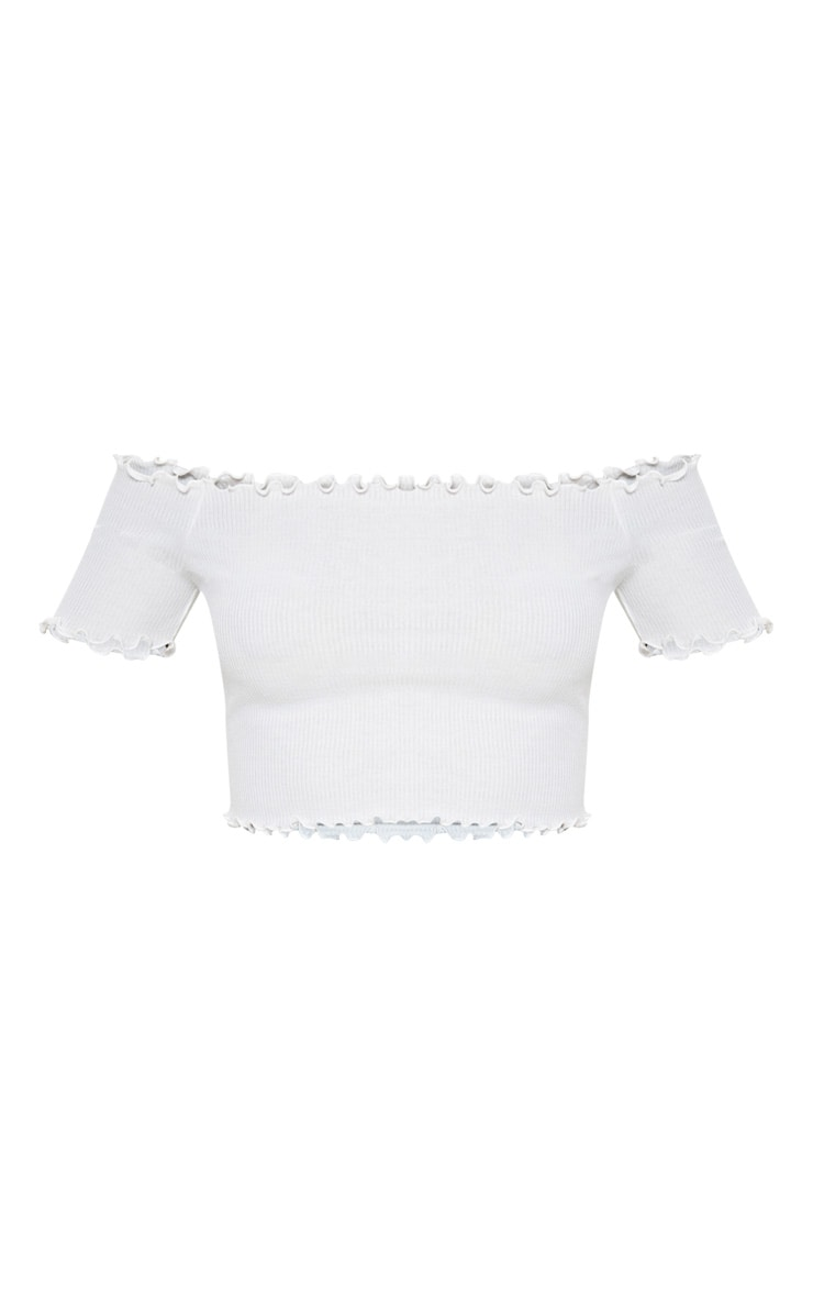 White Short Sleeve Frill Edge Bardot Top 3