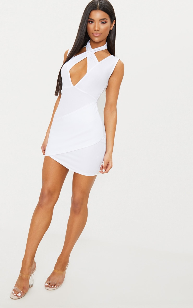 White Cross Neck Wrap Skirt Bodycon Dress 1