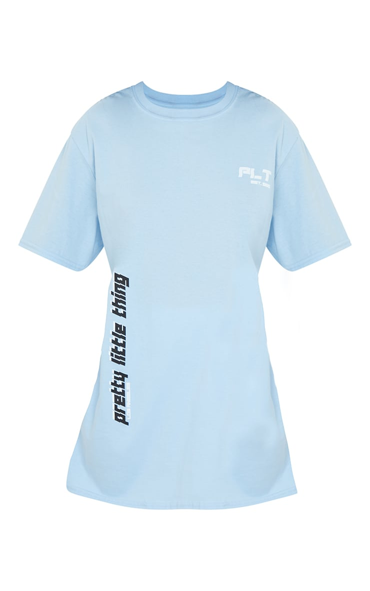 PRETTYLITTLETHING Blue Double Print T Shirt 5