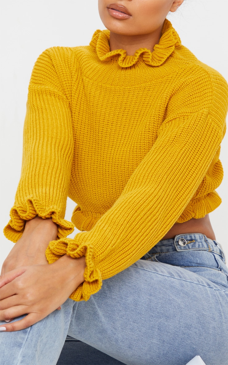 Mustard Knit High Neck Ruffle Trim Crop Jumper 5