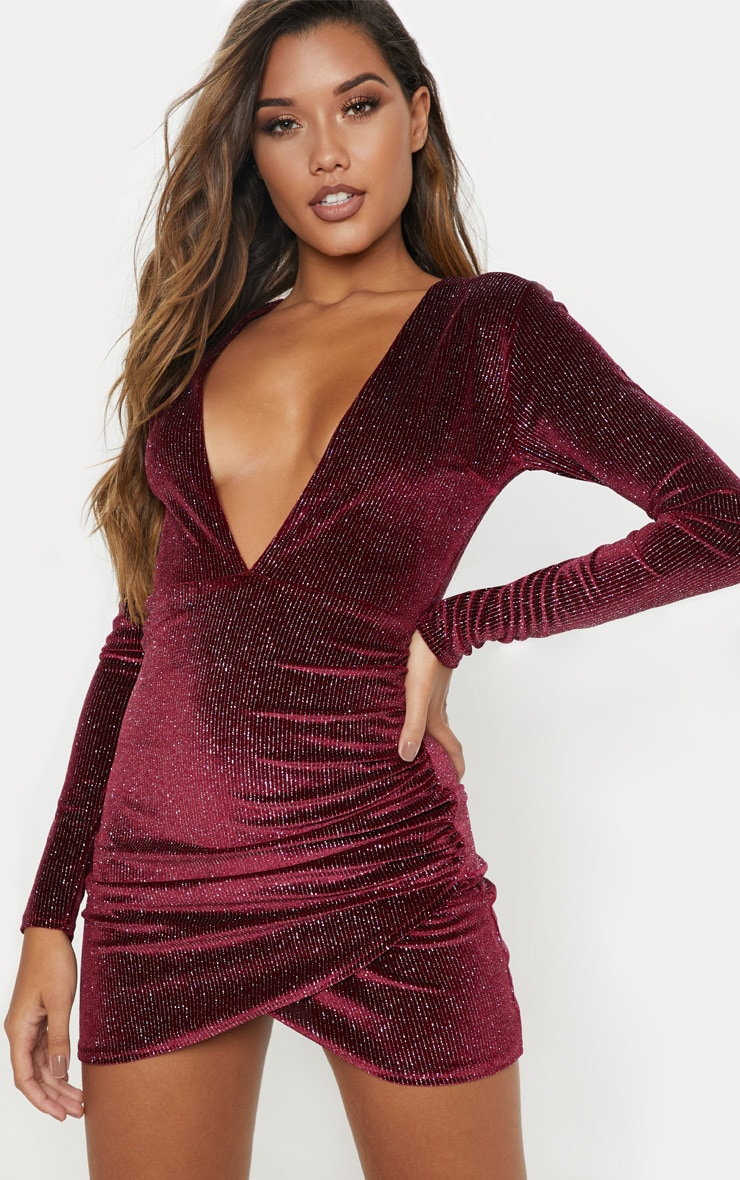 100bb9b1c679 Wine Velvet Glitter Plunge Ruched Bodycon Dress image 1