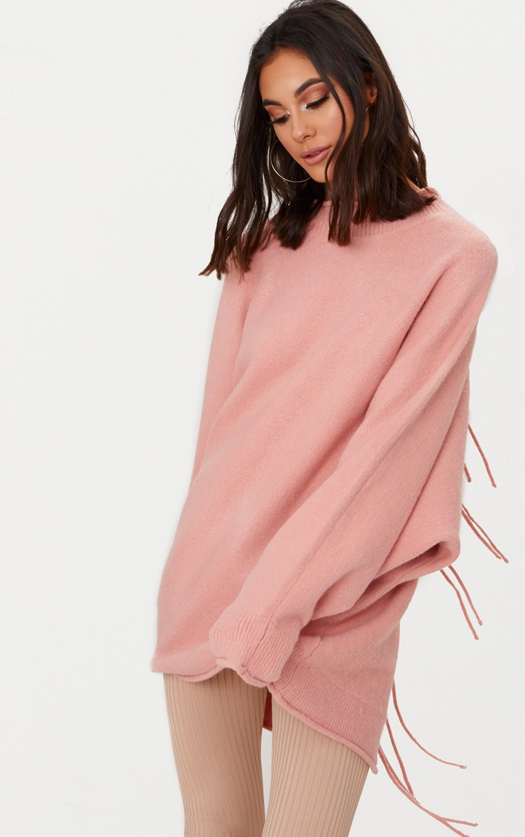 Pink Lace Up Back Oversized Knitted Jumper 2