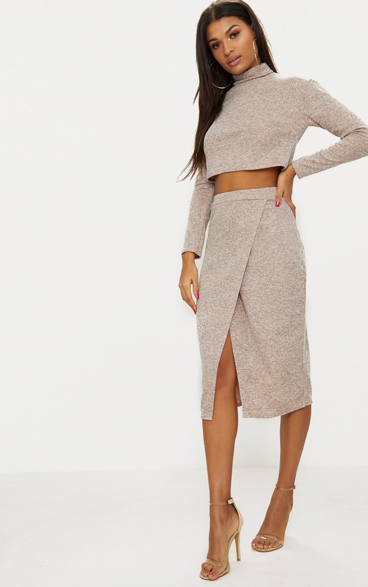 Nude Roll Neck Co Ord Skirt Set 1