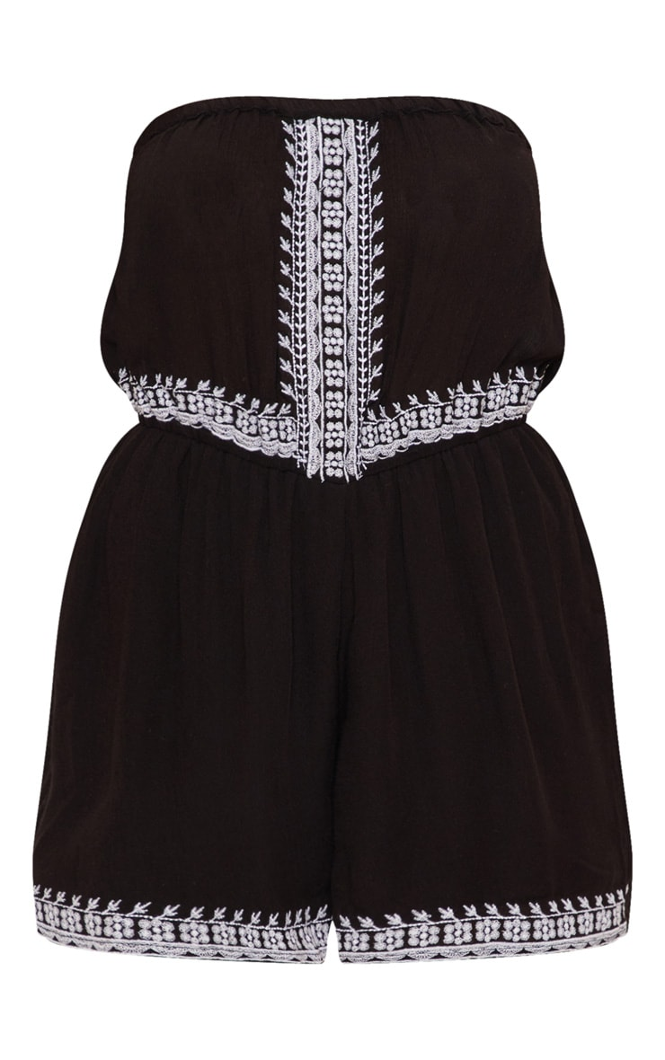 Black Bandeau Embroidered Playsuit 3