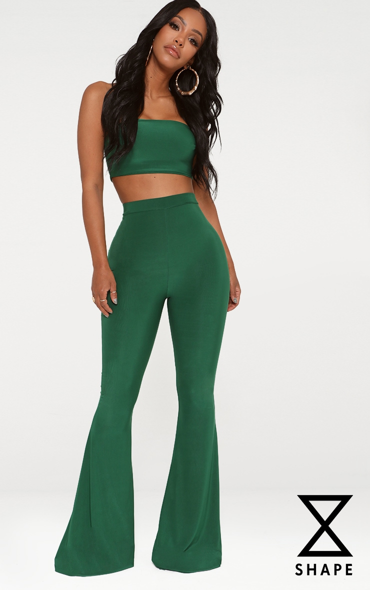 Shape Bright Green Slinky Flared Trousers