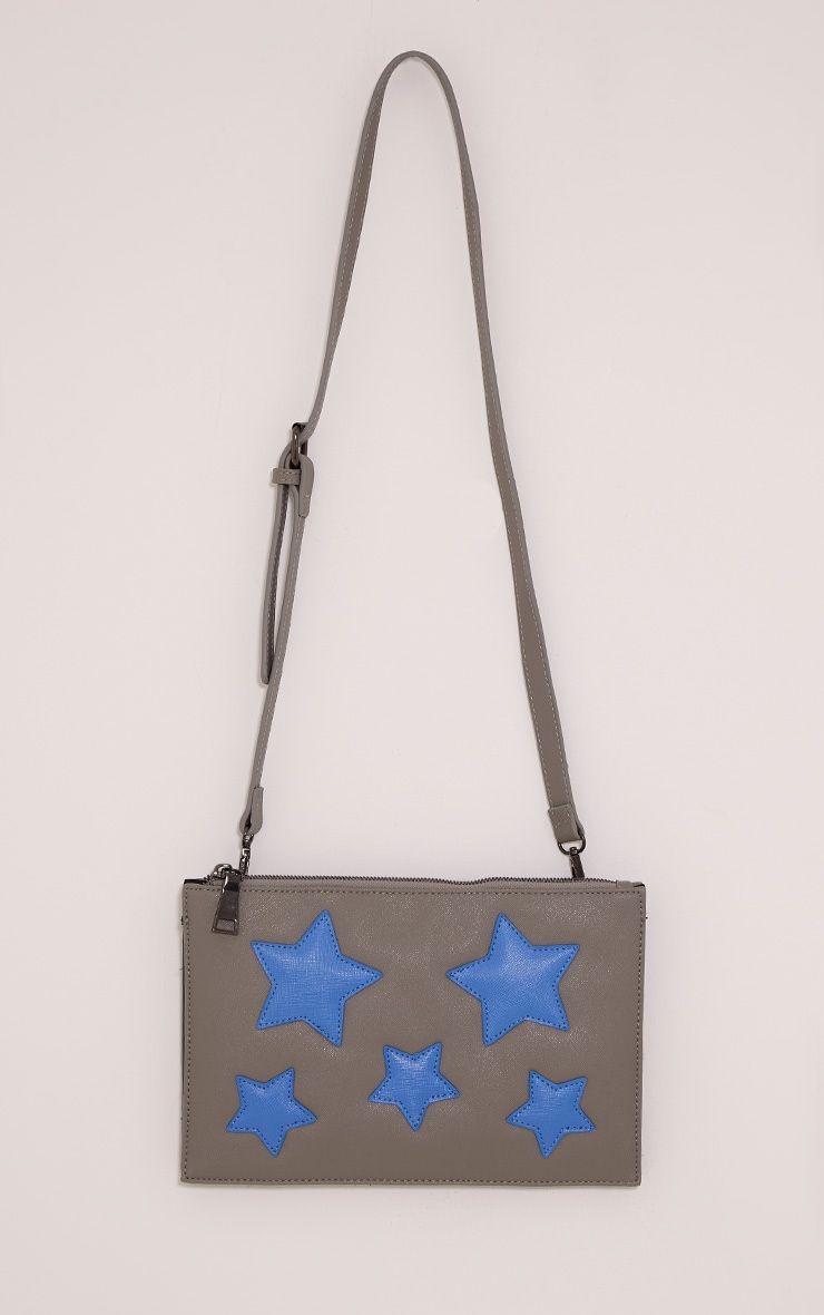 Aimee Grey PU Star Detail Clutch Bag 4