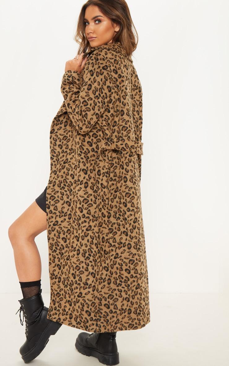 Tan Belted Leopard Coat 2