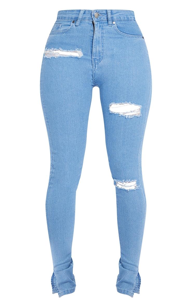 Shape Light Blue Wash Distressed Stretch Split Hem Skinny Jeans 5