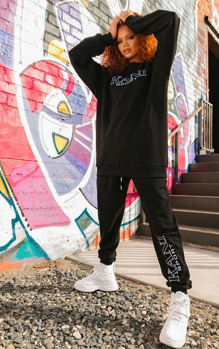 KARL KANI Black Embroidered Joggers 2