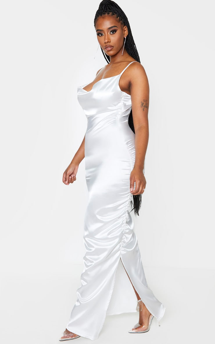 Shape Cream Satin Ruched Side Maxi Dress 4