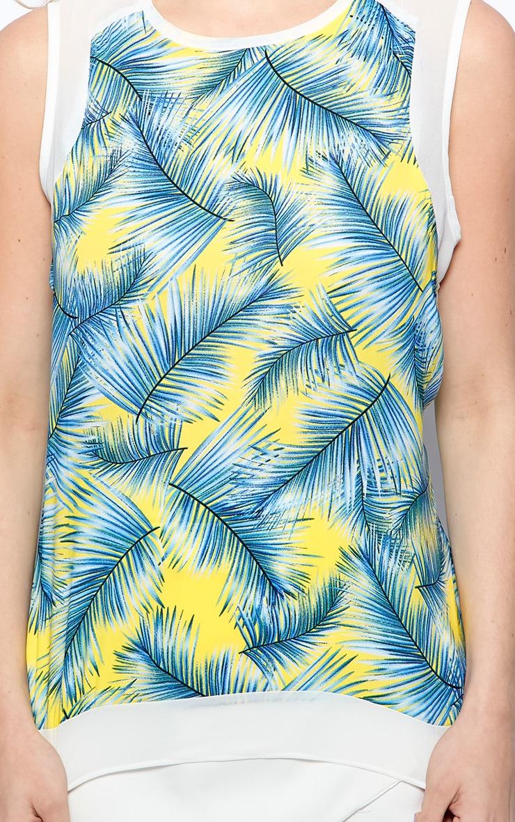 Amelia Blue Sheer Tropical Palm Print Vest  6