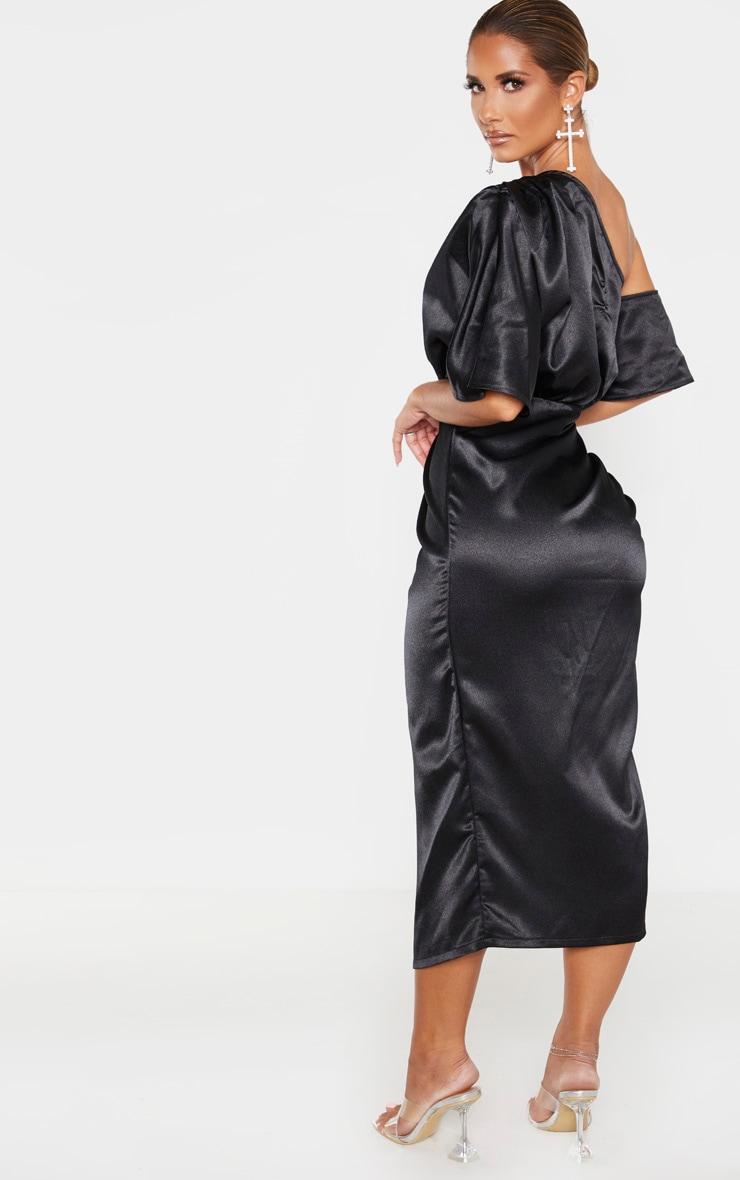Black Satin One Shoulder Ruched Skirt Midi Dress 2