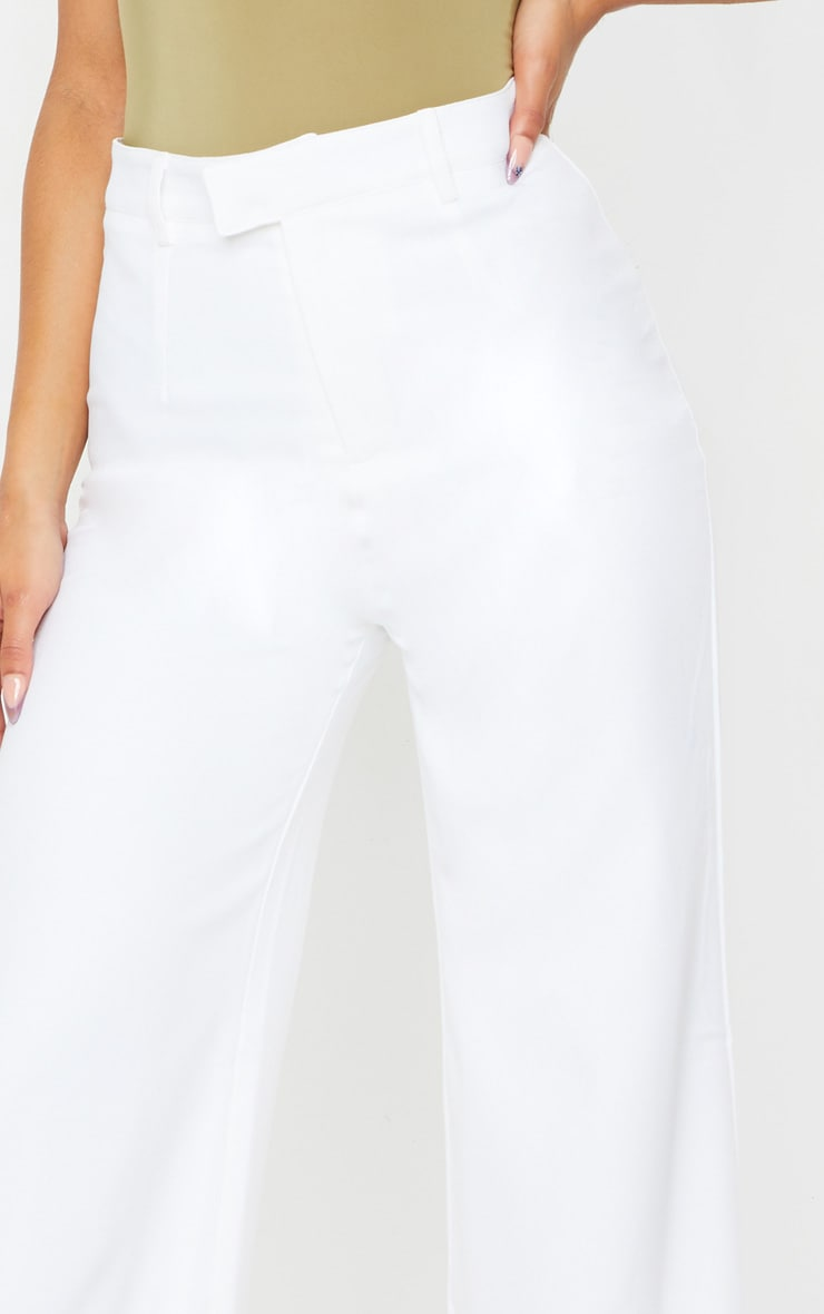 Reemah Cream Wide Leg Crepe Pants 4