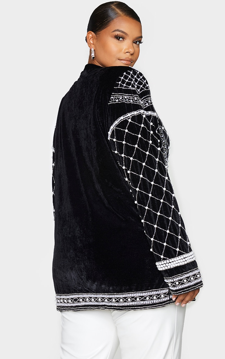 Plus Premium Black Velvet Embellished Beaded Oversized Blazer 2