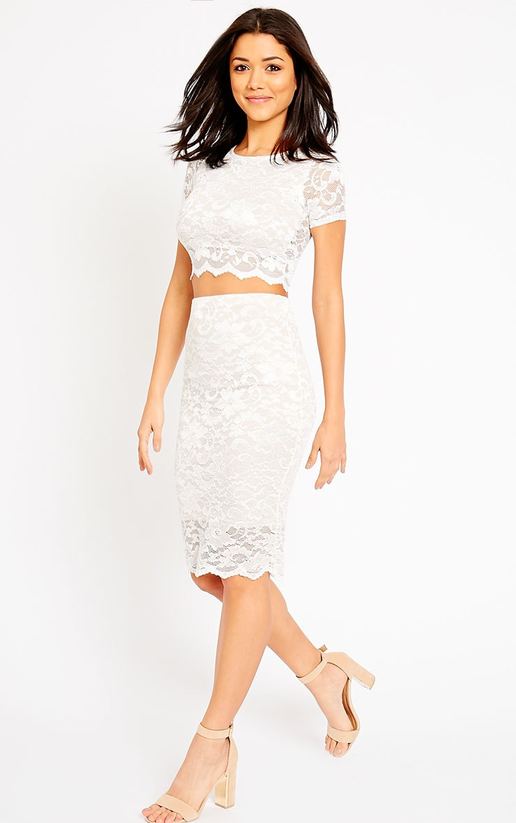 Rez Cream Lace Scallop Edge Midi Skirt 1