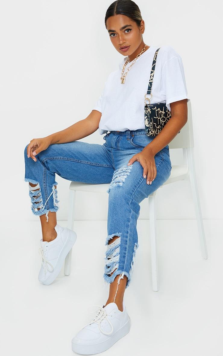 Petite Mid Wash Distressed Denim Cuff Hem Jeans 1