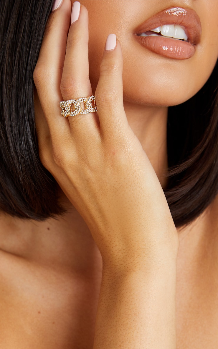 Gold Chunky Pave Chain Ring 1
