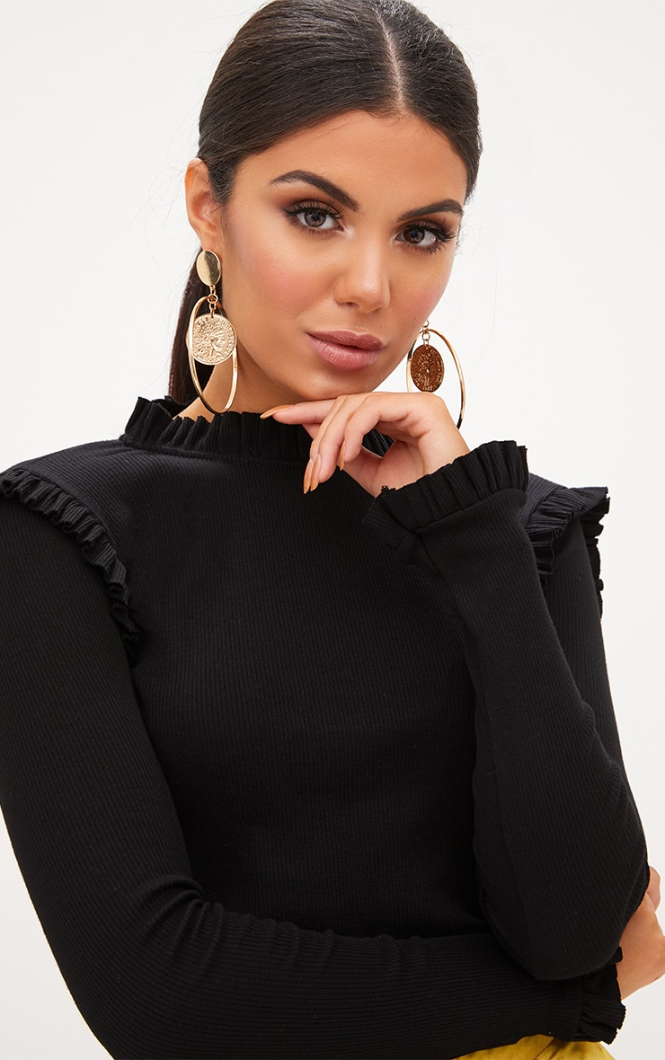 Black Ribbed Frill Edge Long Sleeve Top  5