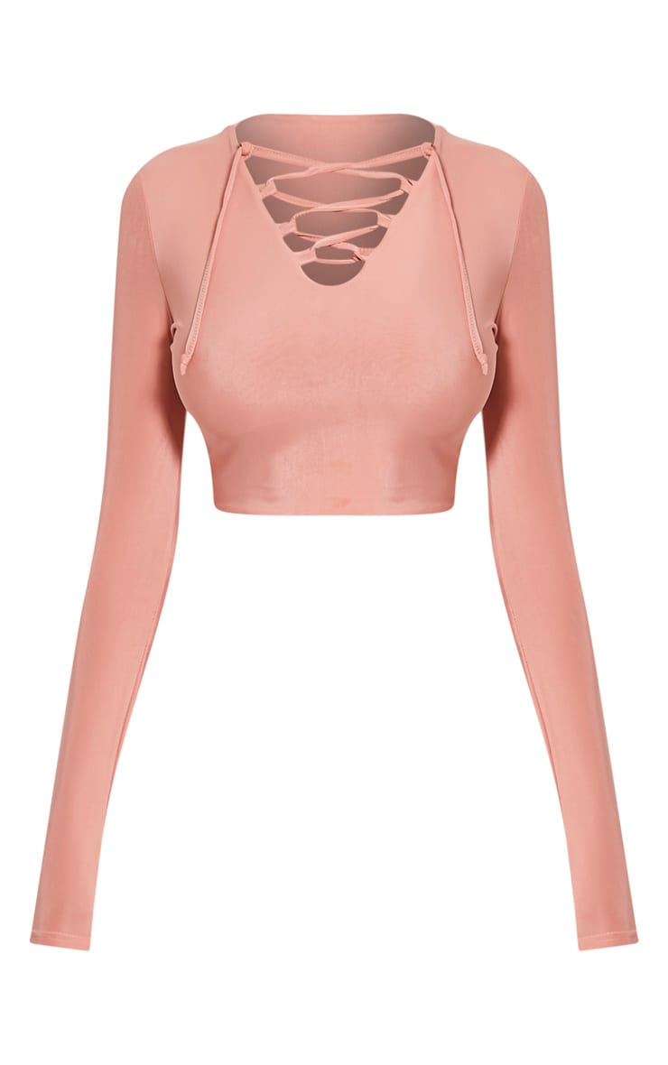 Ameria Blush Lace Up Front Crop Top 3