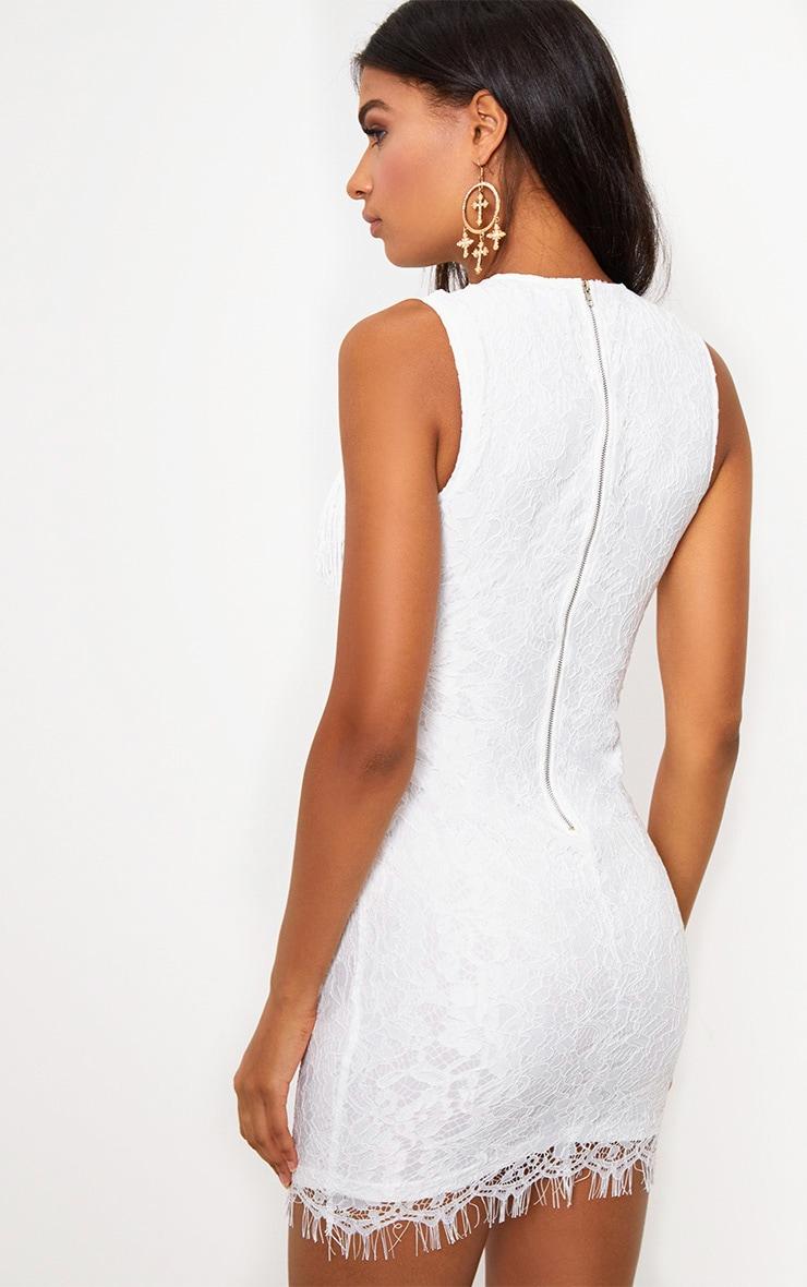 White Lace Fringe Detail Bodycon Dress 2