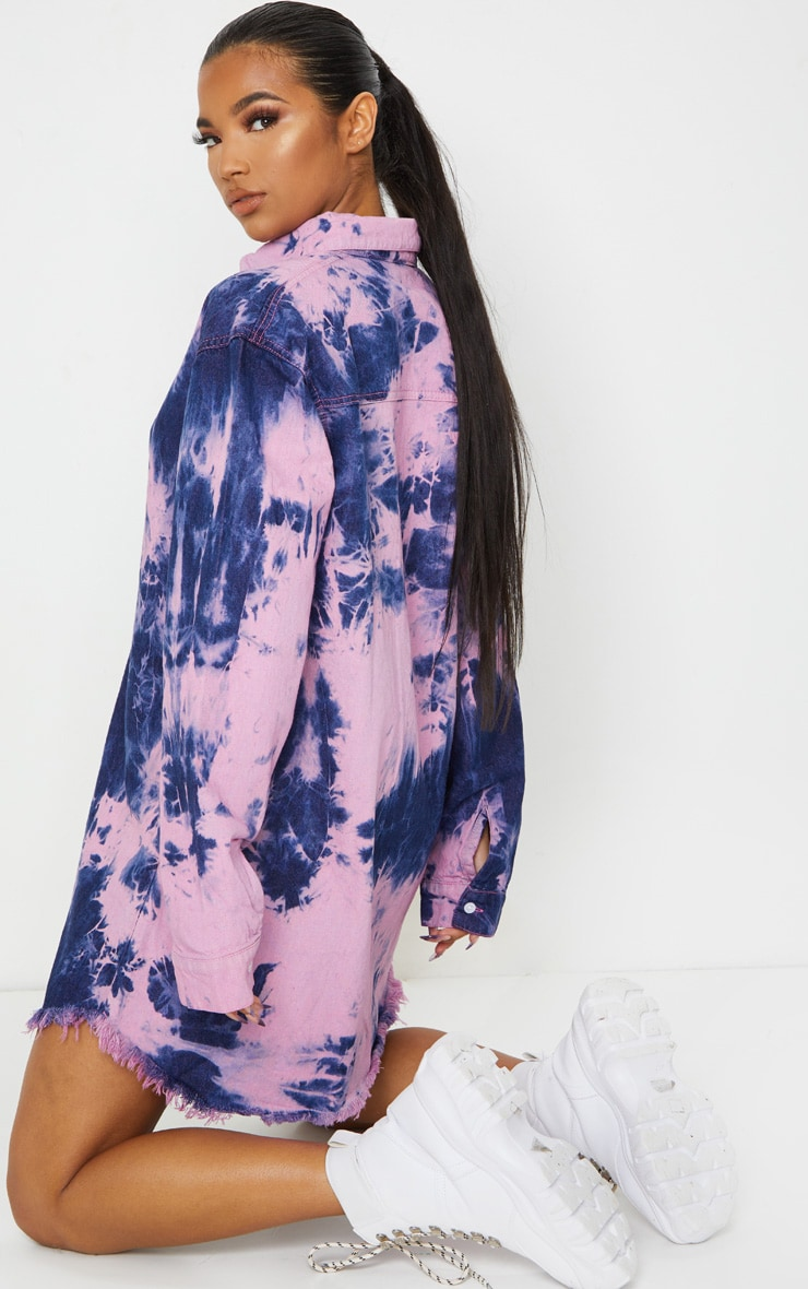 Multi Tie Dye Denim Oversized Shirt Dress 2