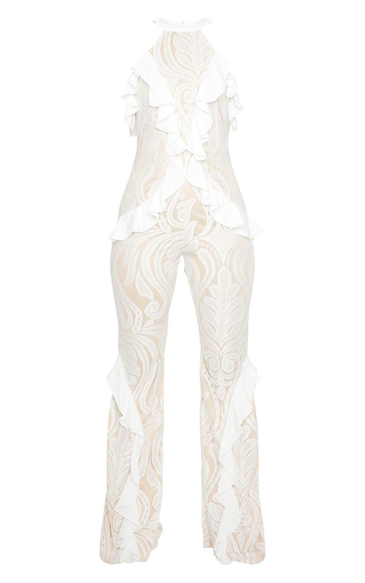White Ruffle Detail Lace Jumpsuit 5