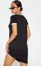 c95c71b897 Black Contrast Trim Jersey T Shirt Dress   PrettyLittleThing