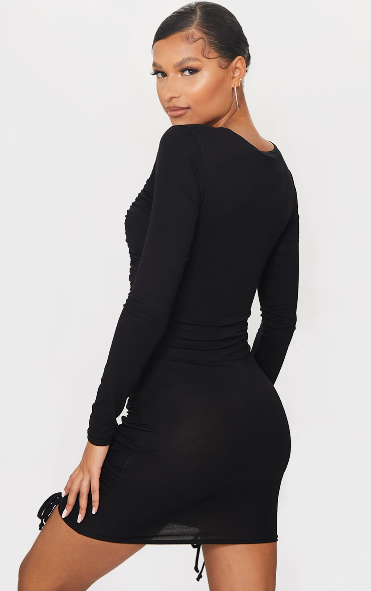 Black Double Ruched Detail Long Sleeve Bodycon Dress 2