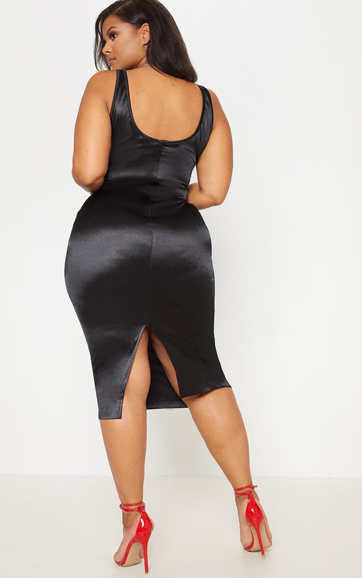 Black Satin Bustier Lace Insert Midi Dress 3