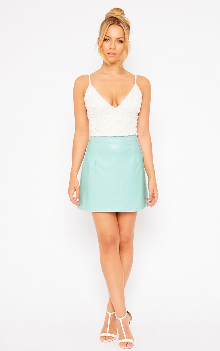 Rose Mint Faux Leather A-Line Mini Skirt 5