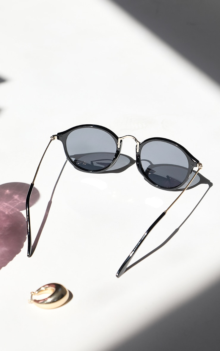 Black Round Retro Sunglasses 2