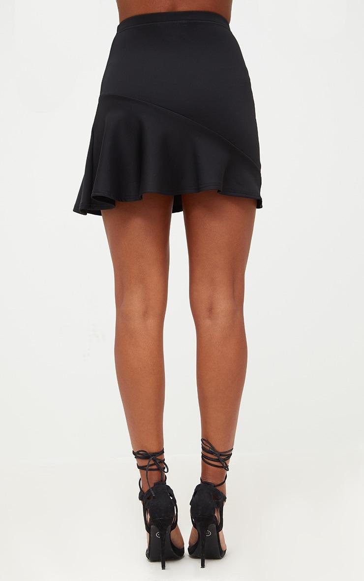 Black Asymmetric Frill Hem Mini Skirt 3