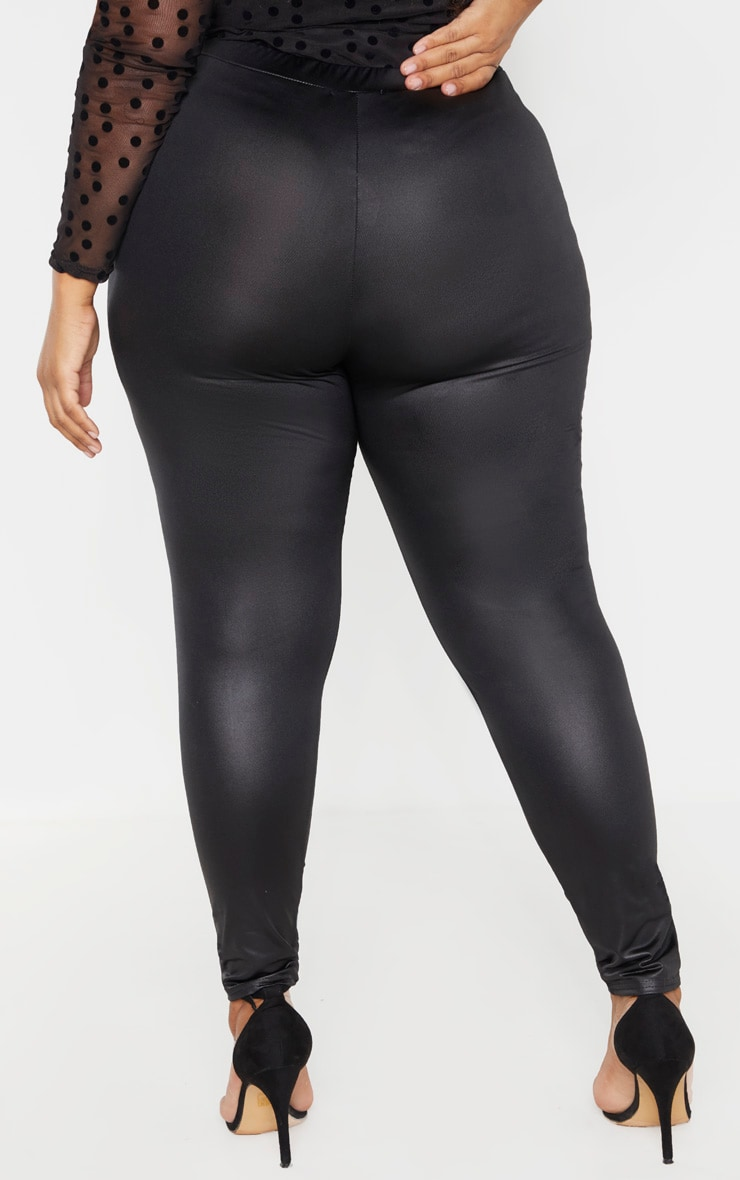 Plus Black PU Fitted Legging  3