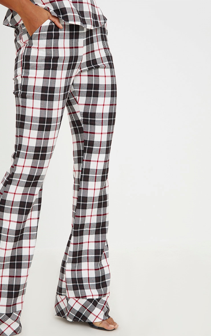 White Tartan Check Flare Trousers 5