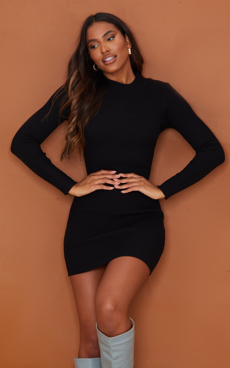 Black Tie Back Lace Up Knitted Mini Dress 3