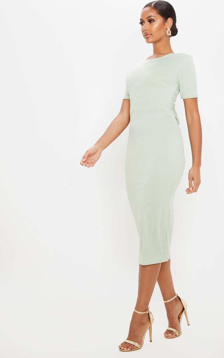 Sage Khaki Tie Back Short Sleeve Midi Dress 4