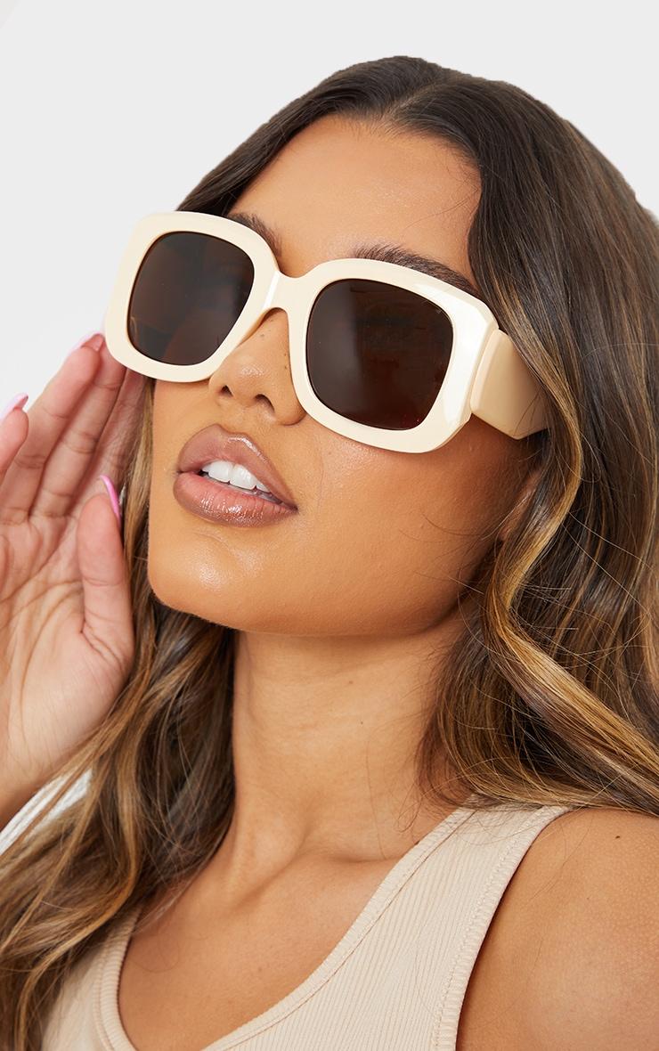 Cream Oversized Chunky Square Frame Sunglasses 1